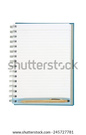 Empty strip line notebook with gold pen on bottom of the page isolated on white background - stock photo