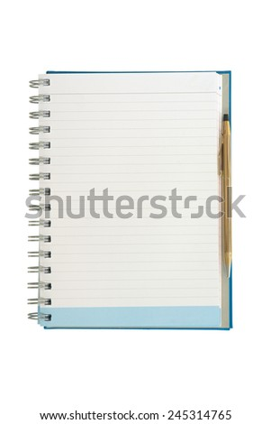 Empty strip line notebook with gold pen on right side isolated on white background - stock photo