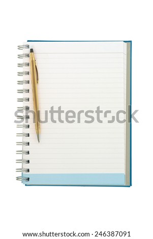 Empty strip line notebook with twisted gold pen on left side of page isolated on white background - stock photo
