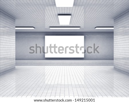 Empty subway station and blank display - stock photo
