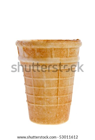 Empty sugar waffle cup  isolated on white background - stock photo