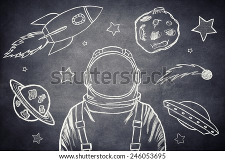 Empty suit astronaut on a background of outer space - stock photo