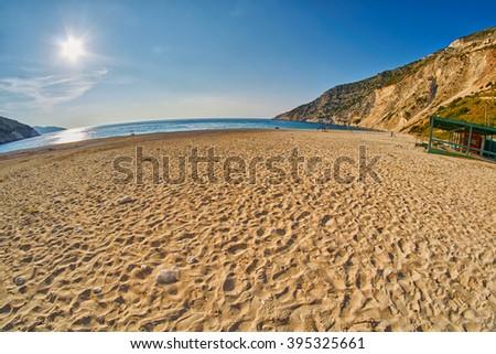 Empty Sunset Myrtos Beach in Kefalonia, Greece - stock photo