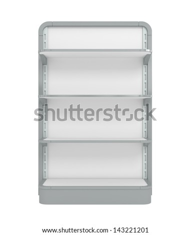 Empty Supermarket Shelf - 3d illustration - stock photo