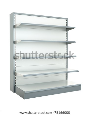 Empty supermarket shelf. 3D render. - stock photo
