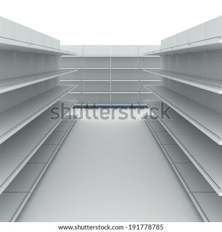 Empty supermarket shelves - stock photo