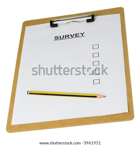 Empty survey form on a clipboard isolated on white background - stock photo