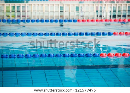 empty swimming pool with many lanes. - stock photo