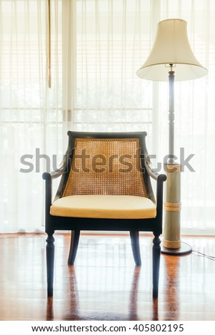 Empty table and chair decoration in living room interior - Vintage Light Filter