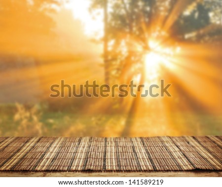 Empty table for Your photomontage or product display. - stock photo