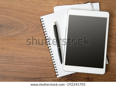 empty tablet on the desk - stock photo