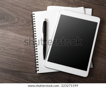 empty tablet on the desk
