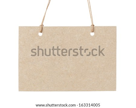 empty tag on waxed cord with space for writing something, isolated on white background - stock photo