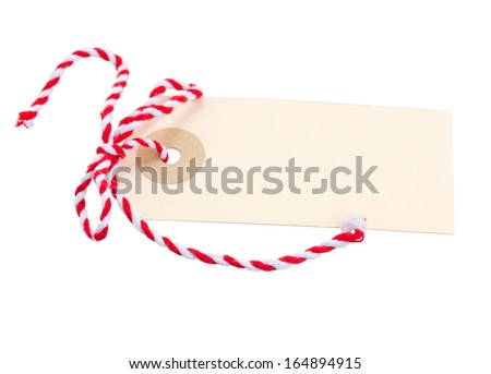 empty  tag with red bow  isolated on white background - stock photo