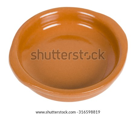 Empty Tapas or Cazuela Dish isolated on a white background. - stock photo