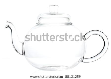 Empty teapot on a white background - stock photo
