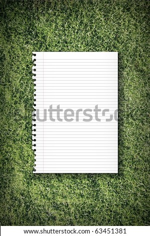 Empty Tear Paper On Green Grass - stock photo