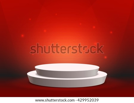 Empty template of white round podium on bright red background - stock photo