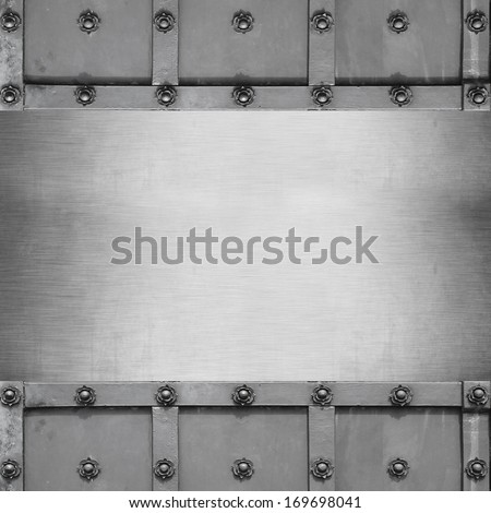 empty template on text and stainless steel trim - stock photo