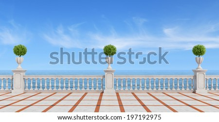 Empty terrace overlooking the sea with concrete balustrade and tiled floor- rendering - stock photo