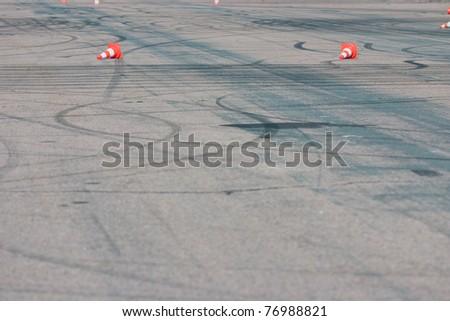 Empty test track with cones - stock photo