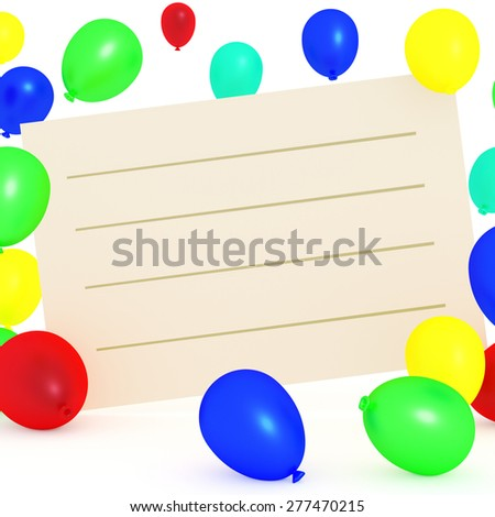 Empty text box with balloons