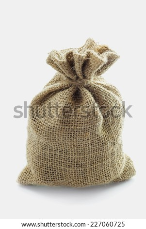 Empty textile burlap sack isolated on white background