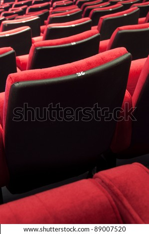 Empty theater auditorium cinema or conference hall - stock photo