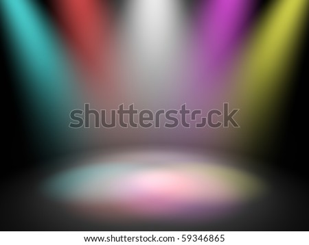 Empty theater stage with spot disco lights, 3d render - stock photo