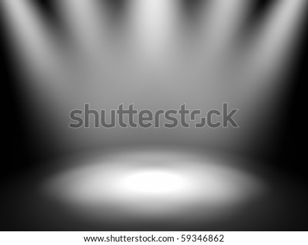 Empty theater stage with spot lights, 3d render - stock photo