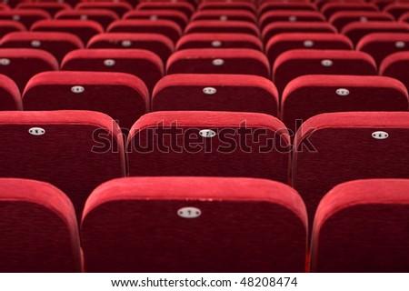 empty theatre auditorium cinema or conference hall - stock photo