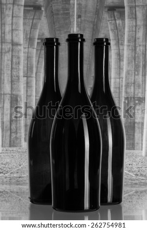 Empty three wine bottles under the highway bridge - stock photo