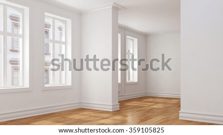 Empty through room in old house with oak parquet (3D Rendering) - stock photo