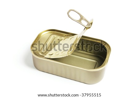 Empty Tin Can on White Background - stock photo