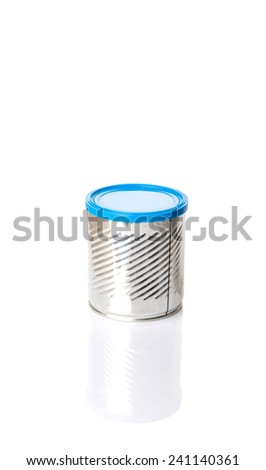 Empty tin can with blue lid over white background - stock photo