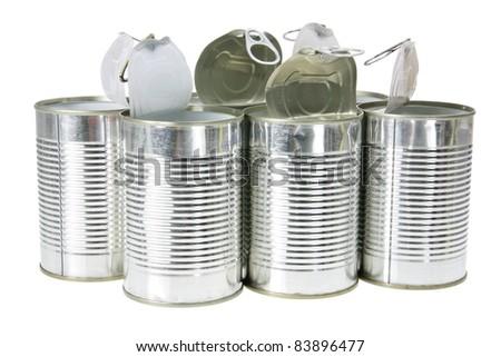 Empty Tin Cans on White Background - stock photo
