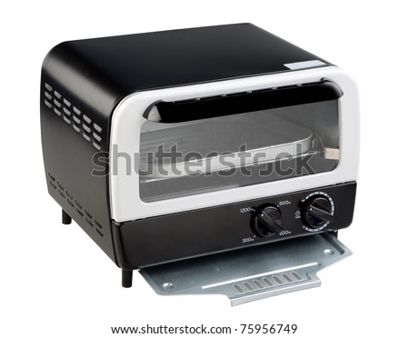 Empty toaster oven the necessary kitchenware isolated