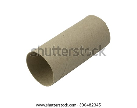 empty toilet paper roll Isolate on White Background - stock photo