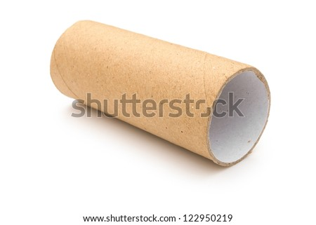 Empty toilet roll on white - stock photo