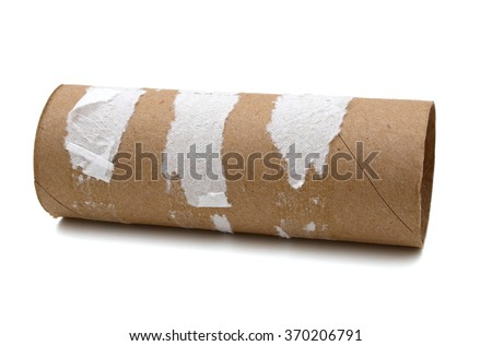 Empty toilet roll on white background