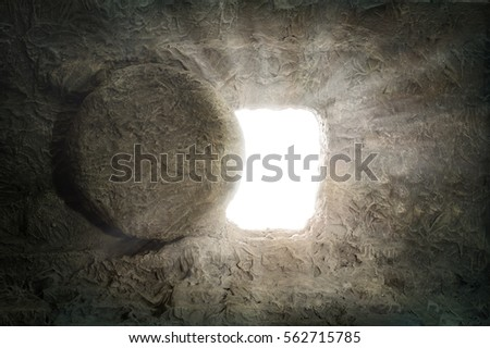 Empty tomb of Jesus with light coming from the inside
