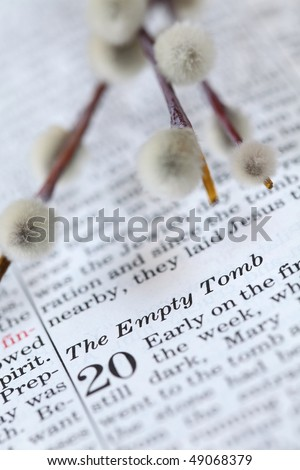 Empty tomb - Open Bible with selective focus on the text in John 20 about Jesus' resurrection. Shallow DOF - stock photo