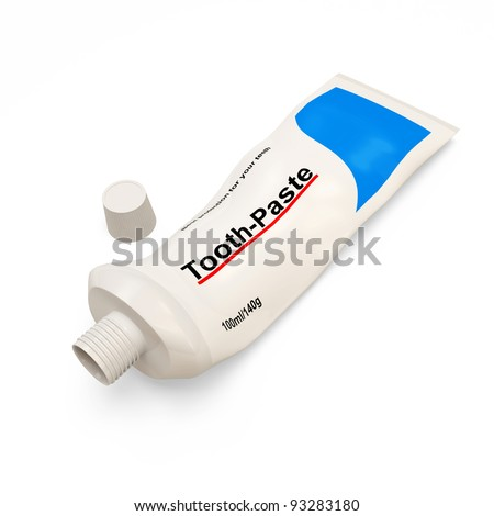 Empty Tooth Paste Tube on white background