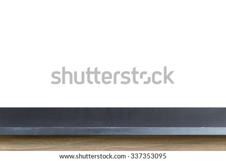 Empty top of black granite stone table isolated on white background. For product display - stock photo
