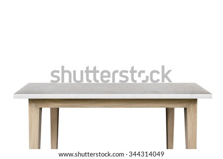 Empty top of granite stone table isolated on white background. For product display