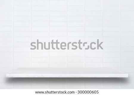Empty top of natural stone shelves and stone wall background. For product display - stock photo