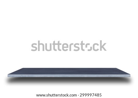 Empty top of natural stone shelves isolated on white background. For product display