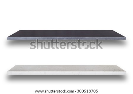 Empty top of natural stone shelves isolated on white background. For product display - stock photo