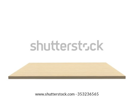 Empty Top Of Wood Unfinished Pine Table Or Counter Isolated On White  Background. For Product