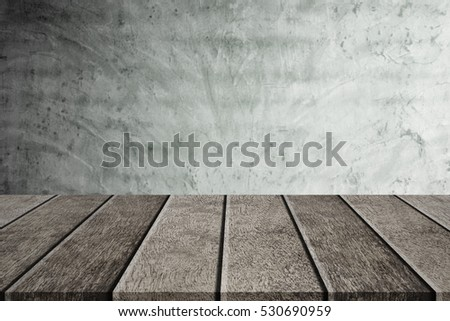 Empty top shelves or table wood on concrete wall background, For put product and some thing